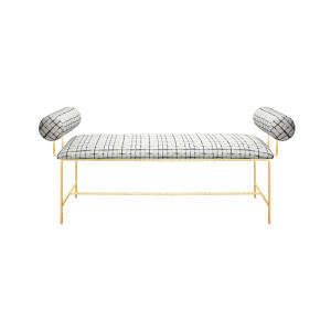 Gold Leaf and Grey Grid Bench