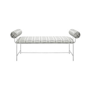 Silver Leaf and Grey Grid Bench