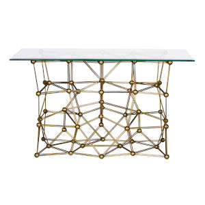 Goldleaf Rectangular Console Table with Glass Top