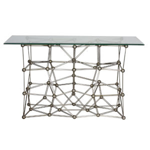 Silver Leaf Rectangular Console Table with Glass Top