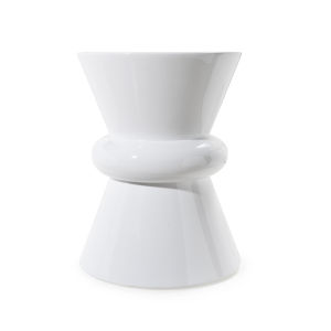 Glossy White Lacquer 14-Inch Hour Glass Side Table