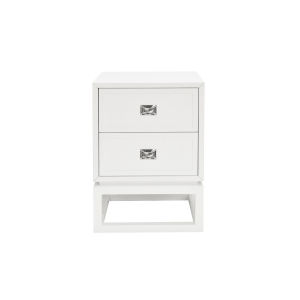Matte White Lacquer and Polished Nickel Side Table