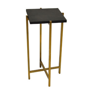 Antique Brass and Black Faux Shagreen 10-Inch End Table