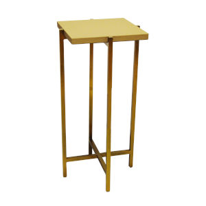Antique Brass and Beige Faux Shagreen 10-Inch End Table
