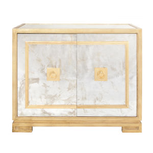 Gold Leaf and Antique Mirror Two Door Cabinet