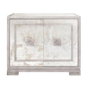 Silver Leaf and Antique Mirror Two Door Cabinet