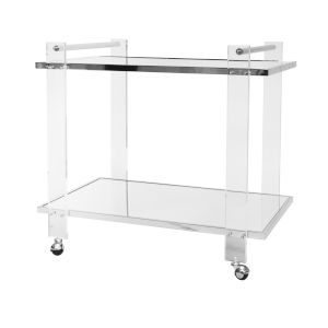 Polished Nickel and Clear Glass Bar Cart