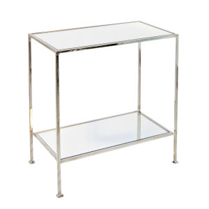 Polished Nickel and Plain Mirror End Table