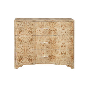 Matte Burl Wood and Acrylic Three Drawer Chest