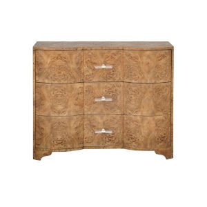 Matte Dark Burl Wood and Acrylic Three Drawer Chest