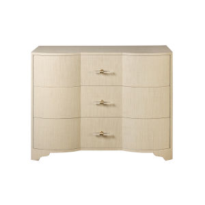 Natural Grasscloth and Acrylic Three Drawer Chest