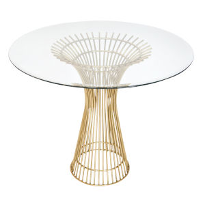 Gold Leaf 30-Inch Table Base with Bevealed Glass