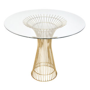 Gold Leaf 36-Inch Table Base with Bevealed Glass