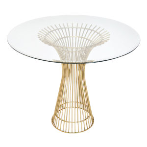 Gold Leaf 42-Inch Table Base with Bevealed Glass