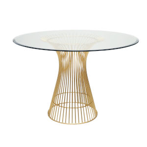 Gold Leaf and Iron 54-Inch Dining Table with Glass Top