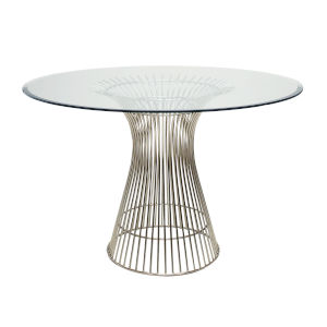Polished Stainless 42-Inch Dining Table with Glass Top