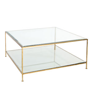 Gold Leaf Square Coffee Table with Beveled Glass