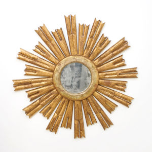 Gold Leaf and Antique Mirror Starburst Wall Mirror