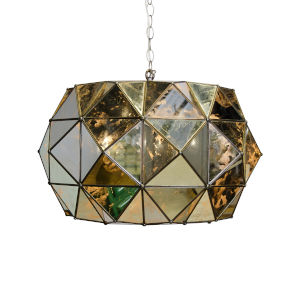 Antique Mirror and Brass Six-Light Pendant