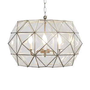 Clear Glass and Brass Six-Light Pendant