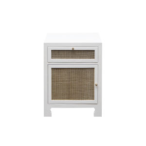Matte White Lacquer and Natural Caning 22-Inch Cabinet