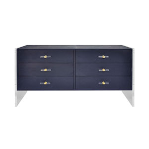 Cream Faux Shagreen and Navy Six-Drawer Chest with Acrylic Side