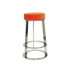 Polished Nickel and Orange Velvet Bar Stool