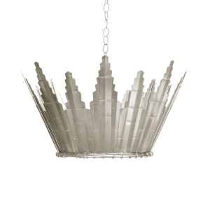 Silver Leaf Six-Light 25-Inch Chandelier