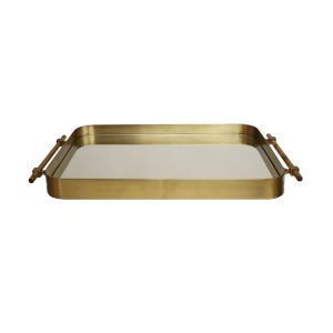 Antique Brass Framed Tray with Inset Mirror