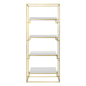 Gold Leaf and Glossy White Lacquer Etagere