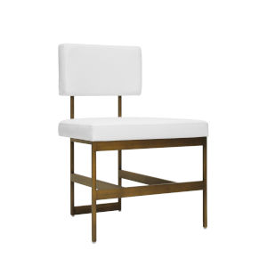 Bronze and White Vinyl Dining Chair