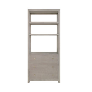 Grey Grasscloth and Grey Linen Etagere