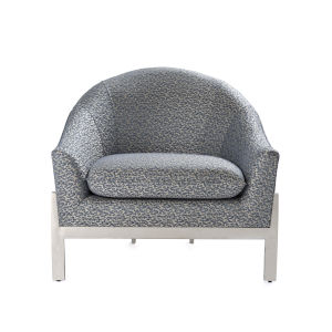 Slate Blue and Polished Nickel Lounge Chair