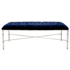 Polished Nickel and Navy Velvet Bench