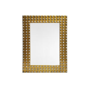 Antique Brass and Gray Rectangular Wall Mirror with Resin Stone Studded