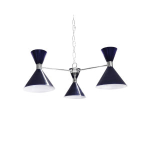 Navy and Polished Nickel Three-Light Chandelier