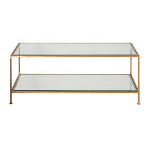Gold Leaf Rectangular  Coffee Table with Beveled Glass