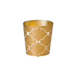 Gold and Cream Waste Basket