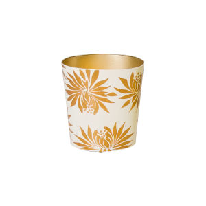 Gold and Cream Floral Waste Basket