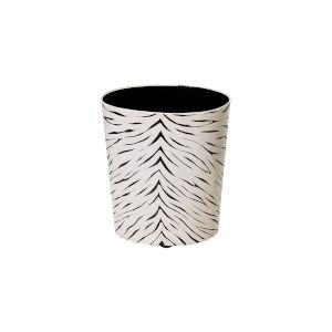 Black and Cream Animal Print Waste Basket