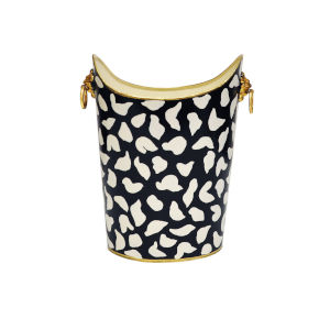 Black, White and Gold Leopard Waste Basket with Handle