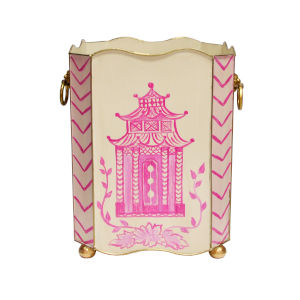 Pink, Cream and Gold Waste Basket with Handle