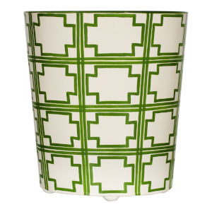 Green and Cream Oval Waste Basket