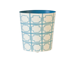 Turquoise and Cream Oval Waste Basket