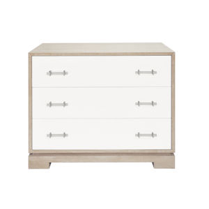 Cerused Oak and Matte White Lacquer Three Drawer Dresser