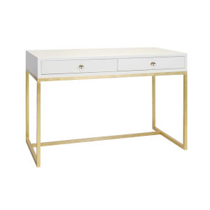 Glossy White Lacquer and Gold Leaf Two Drawer Desk