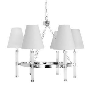 Acrylic and Polished Nickel Six-Light Chandelier