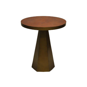 Antique Brass and Faux Brown Side Table with Leather Top