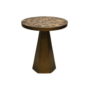 Antique Brass and Brown Side Table with Horn Top