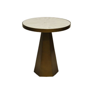 Antique Brass and White Side Table with Marble Top